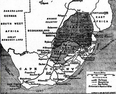 Map of the Boer Republics and South Africa